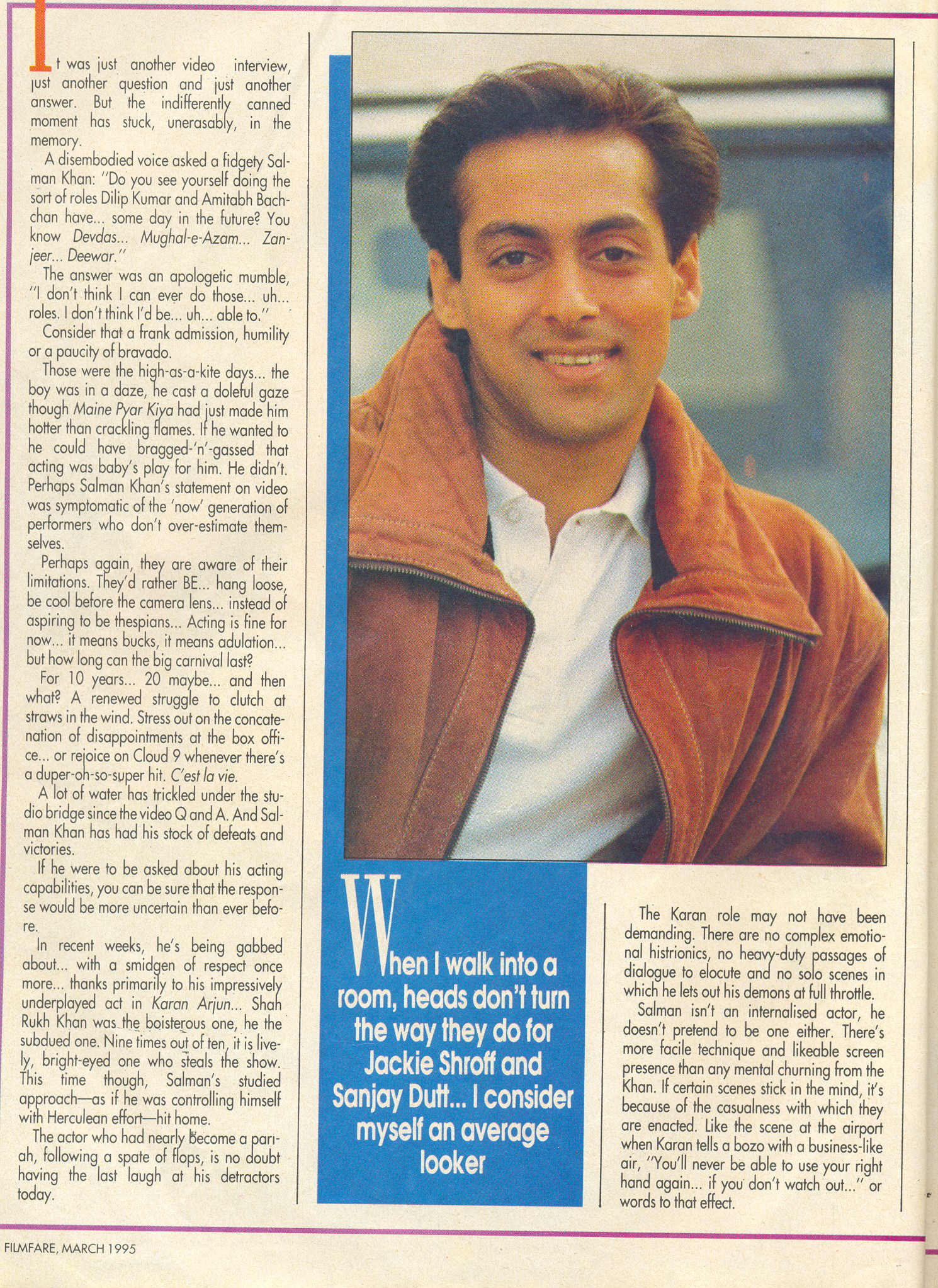 Filmfare March 1995 Plus Salman Interview Satyamshot